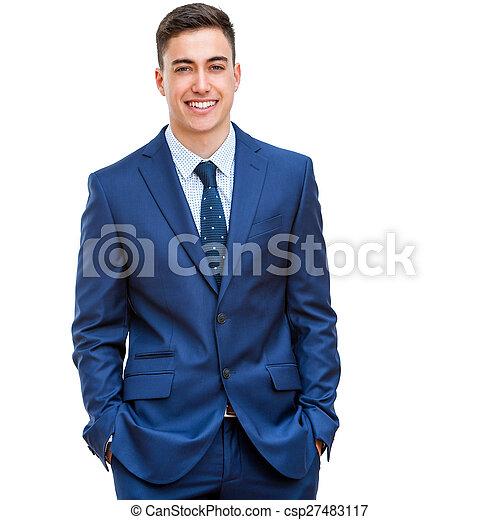 Handsome businessman in blue suit. - csp27483117