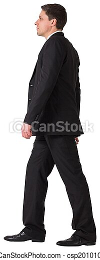 Handsome businessman in suit stepping - csp20101043