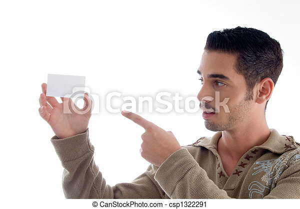handsome businessman showing his business card - csp1322291