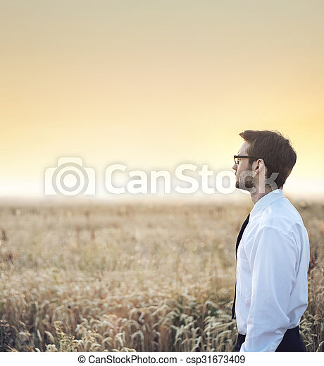 Handsome  businessman staring at the sunset - csp31673409