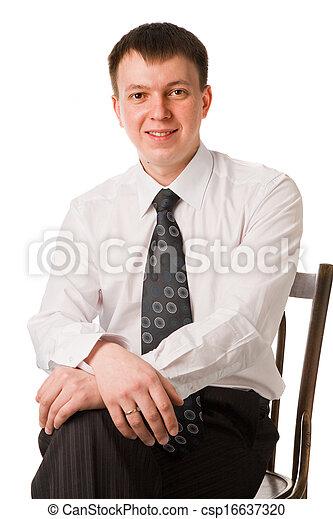 handsome businessman wearing tie - csp16637320