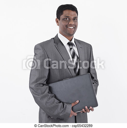 handsome businessman with a laptop .isolated on white - csp55432289