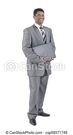 handsome businessman with a laptop .isolated on white - csp59371749
