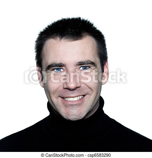 handsome caucasian man blue eyes toothy white smiling portrait - csp6583290