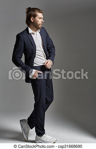 dense beard. Handsome smart man