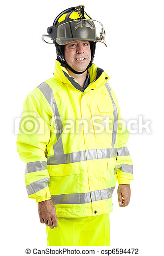 Handsome Firefighter on White - csp6594472