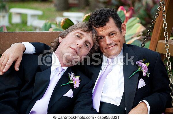 Handsome Gay Wedding Couple - csp9558331