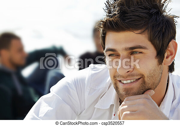 handsome happy man with mullet haircut - csp3520557
