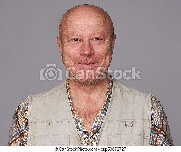 handsome happy senior man isolated - csp50872727