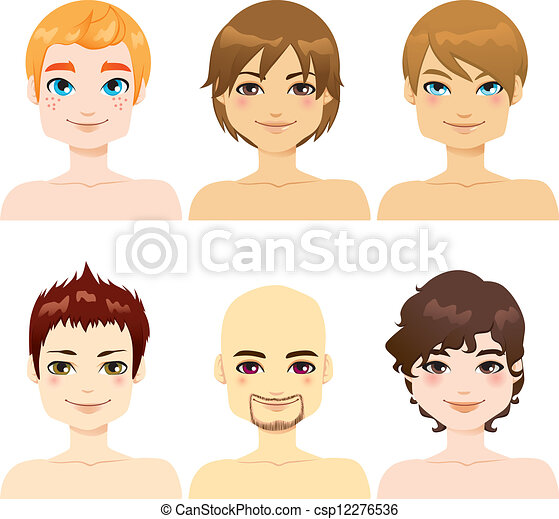 handsome male faces. collection of six handsome men faces vectors