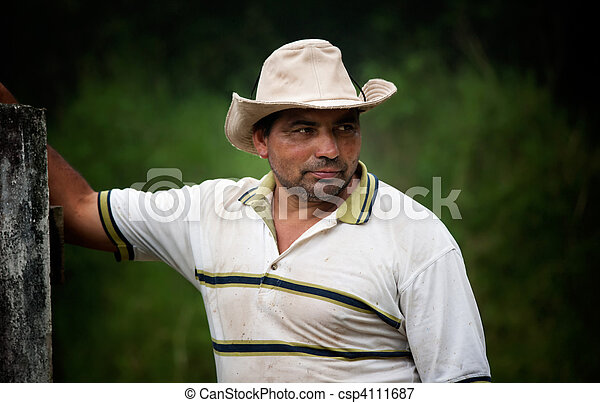 Handsome male ranch hand in Costa Rica - csp4111687