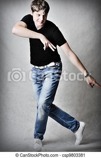 handsome man dancing - csp9803381