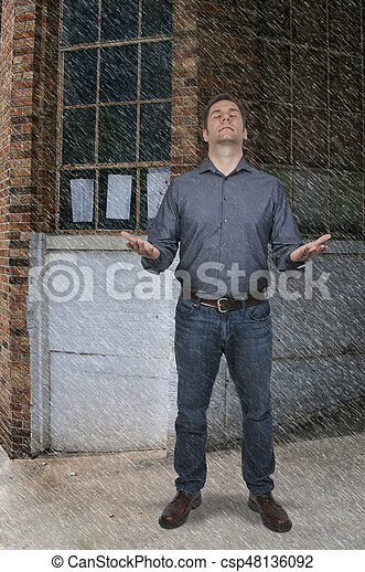 handsome man standing in the rain attractive handsome american or