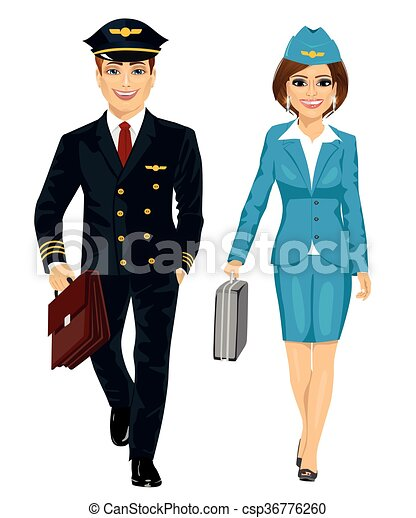 Handsome Man Wearing Airline Pilot Uniform And Air Hostess