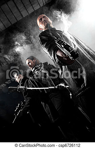 Handsome men with weapons - csp6726112