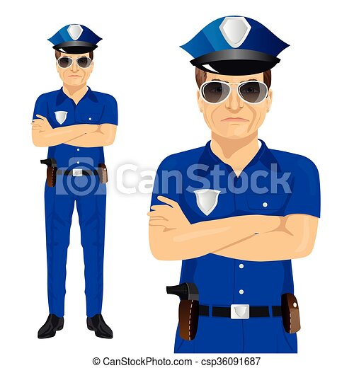 handsome middle aged police officer with arms folded full body rh canstockphoto com police officer clip art free police officer clip art step by step