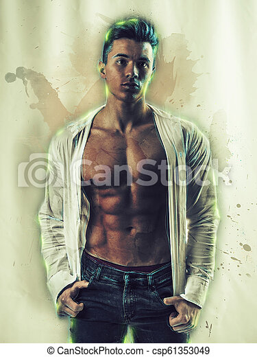 Handsome muscular man in watercolor painting effect - csp61353049