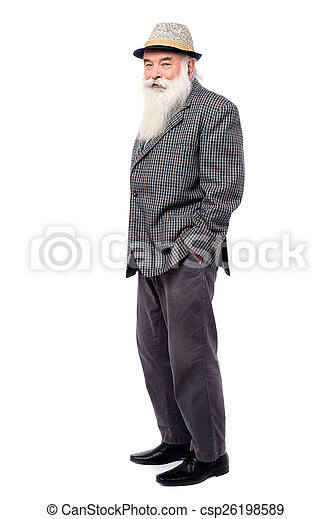 Handsome old man in suit side view of senior man standing over white handsome old man in suit csp26198589 publicscrutiny Images