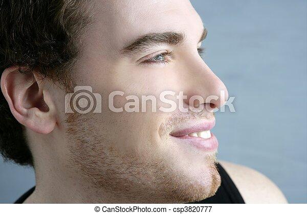 handsome profile portrait young man face - csp3820777