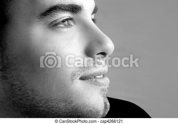 handsome profile portrait young man face - csp4266121
