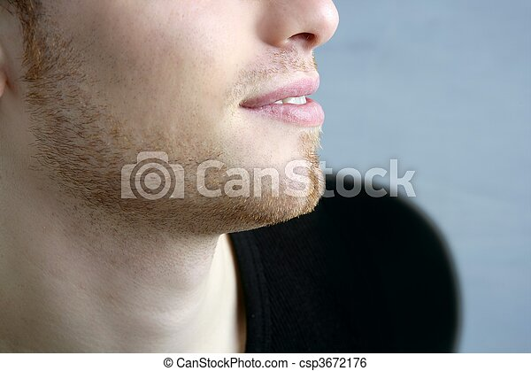handsome profile portrait young man face - csp3672176