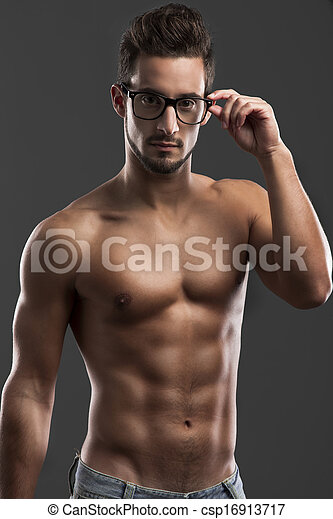 handsome shirtless male model - csp16913717