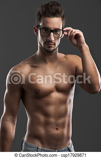 handsome shirtless male model - csp17929871