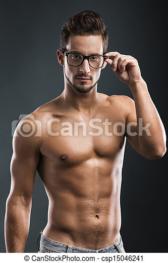 handsome shirtless male model - csp15046241