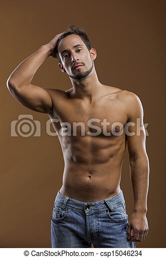handsome shirtless male model - csp15046234