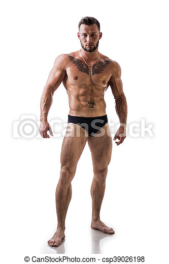 Handsome topless muscular man standing, isolated - csp39026198