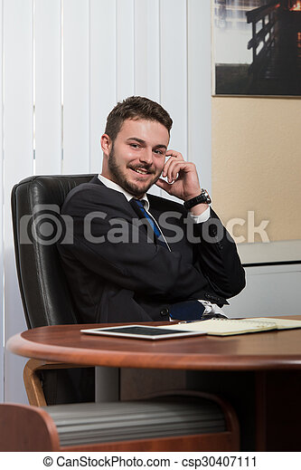 Handsome Young Businessman Portrait In His Office - csp30407111