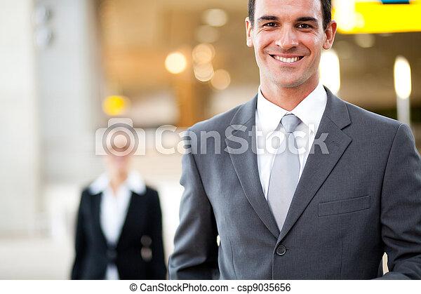 handsome young businessman portrait - csp9035656