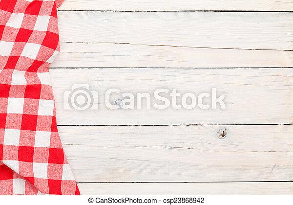 handtuch, hölzern, aus, tisch, rotes , kueche  - csp23868942