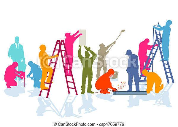 Handwerker-farben. A group of craftsmen working on the... stock ...