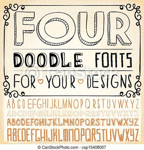 Handwriting Alphabets Vector Hand Drawn Fonts