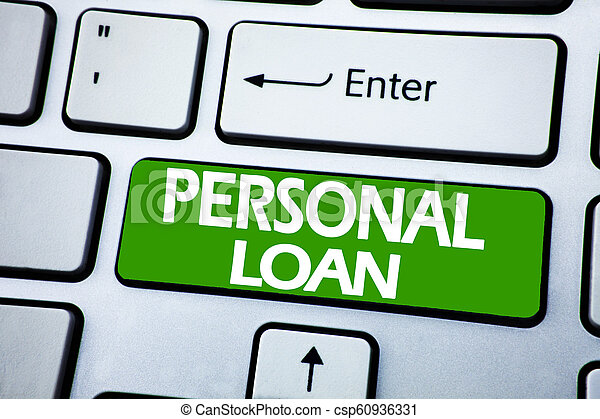 Handwriting Announcement text showing Personal Loan. Business concept for Bank Financial Help written on blue key on the keybord background. - csp60936331