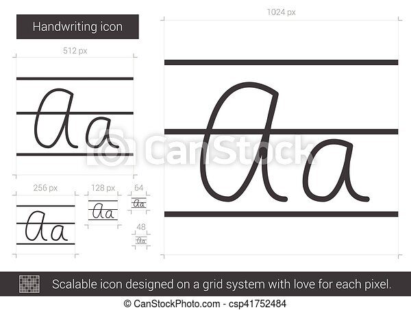 Handwriting Line Icon Handwriting Vector Line Icon Isolated On White Background Handwriting Line Icon For Infographic