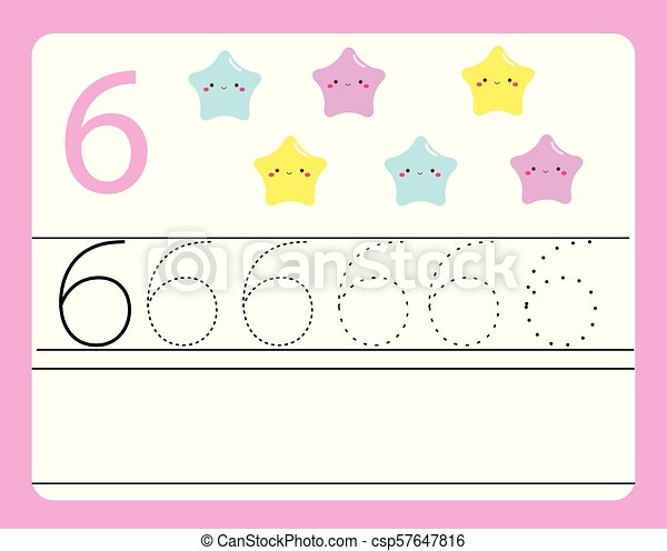 Handwriting Practice Learning Numbers With Cute Characters Number Six Educational Printable Worksheet For Kids And
