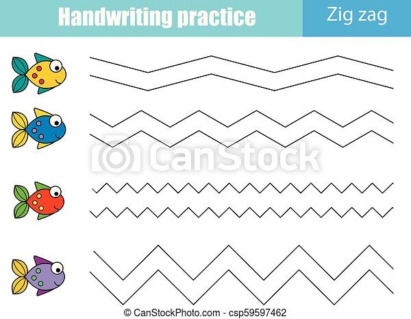 Handwriting practice sheet. Educational children game, printable worksheet  for kids. Zig zag lines