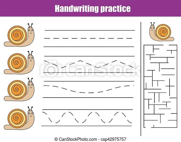 Handwriting Practice Sheet Educational Children Game Printable ...