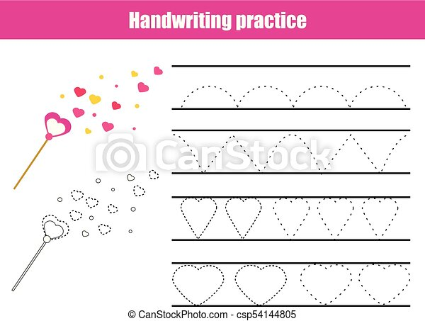 Handwriting Practice Sheet Educational Children Game Printable Worksheet For Kids Writing Training With Wavy Lines And Heart Shapes