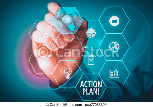 Handwriting text Action Plan. Concept meaning proposed strategy or course of actions for certain time Picture photo system network scheme modern technology smart device. - csp77063809
