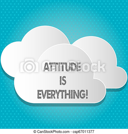 Handwriting text Attitude Is Everything. Concept meaning Personal Outlook Perspective Orientation Behavior. - csp67011377