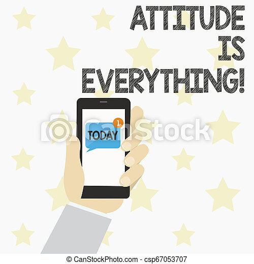 Handwriting text Attitude Is Everything. Concept meaning Personal Outlook Perspective Orientation Behavior. - csp67053707