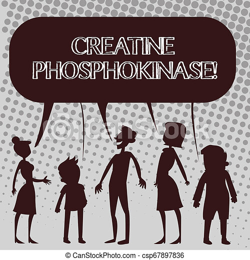 Handwriting text Creatine Phosphokinase. Concept meaning protein that aids chemical changes in the body Silhouette Figure of People Talking and Sharing One Colorful Speech Bubble. - csp67897836