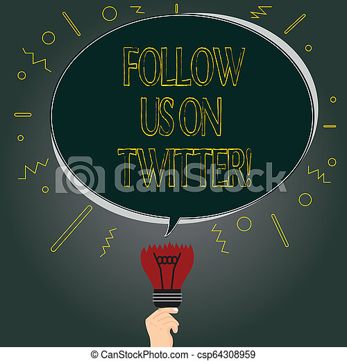 Handwriting text Follow Us On Twitter  Concept meaning Invitation to join  social media and look for tweets Blank Oval Color Speech Bubble Above a