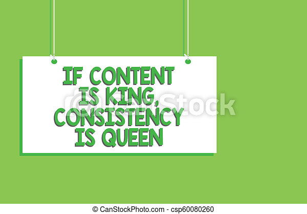 Handwriting text If Content Is King, Consistency Is Queen. Concept meaning Marketing strategies Persuasion Hanging board message communication open close sign green background. - csp60080260