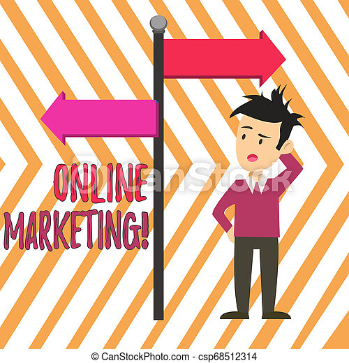 Handwriting text Online Marketing. Concept meaning leveraging web based channels spread about companys brand Man Confused with the Road Sign Arrow Pointing to Opposite Side Direction. - csp68512314