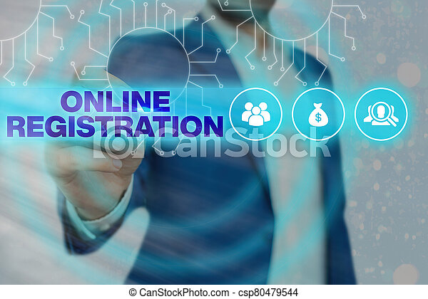 Handwriting text Online Registration. Concept meaning Process to Subscribe to Join an event club via Internet. - csp80479544