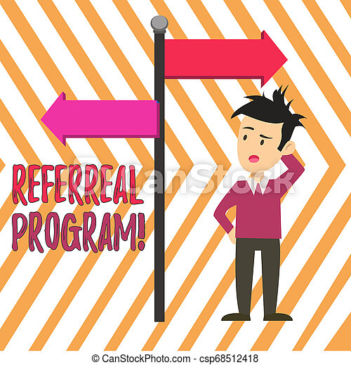 Handwriting text Referral Program. Concept meaning internal recruitment method employed by organizations Man Confused with the Road Sign Arrow Pointing to Opposite Side Direction. - csp68512418